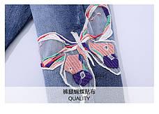 Джинсовый костюм на девочку с нашивками - бабочки 201-1, фото 3
