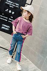 Модные детские джинсы прямого кроя, боковые лампасы розовый с белым 203-7, фото 3