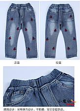 Модные джинсы для девочки с вышивкой Вишенки 203-111, фото 3