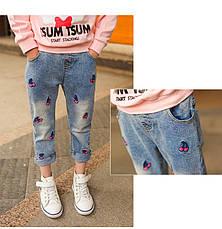 Модные джинсы для девочки с вышивкой Вишенки 203-112, фото 3