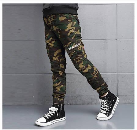 Модные штаны с манжетами на мальчика цвет Хаки - 201-8, фото 2