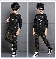 Модные штаны с манжетами на мальчика цвет Хаки - 201-8, фото 3