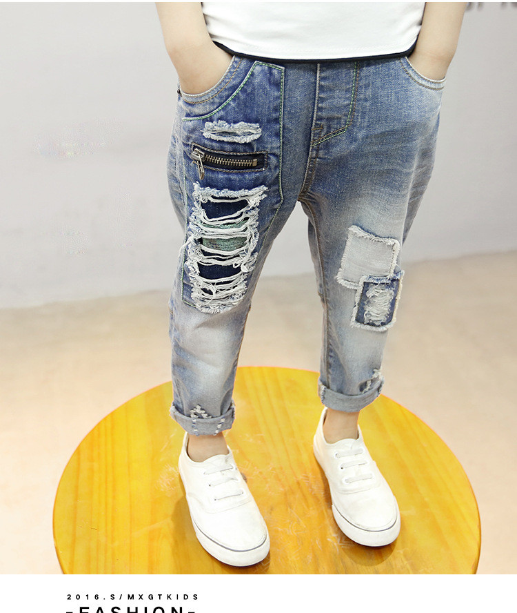 Рваные детские джинсы на мальчика - нашивки, молнии 202-7