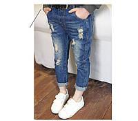 Модные джинсы с потертостями, на карманах выкройка 203-10