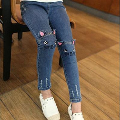 Модные джинсы стерео - Кошки - рваные, пояс на резинке, узкие 203-15
