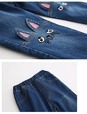 Модные джинсы стерео - Кошки - рваные, пояс на резинке, узкие 203-15, фото 3