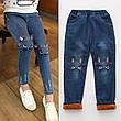 Модные джинсы стерео - Кошки - рваные, пояс на резинке, узкие 203-15, фото 4