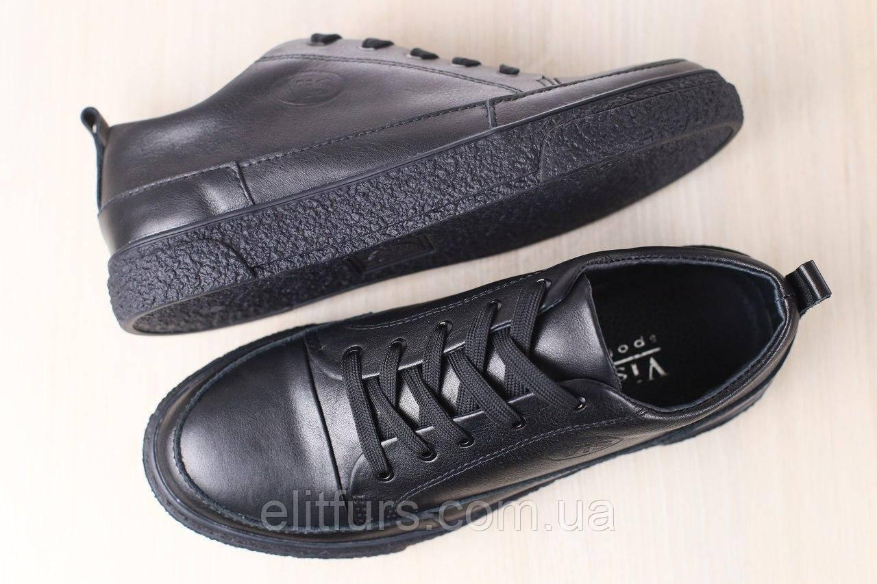 Мужские спортивные туфли, кожаные, черные, на шнурках