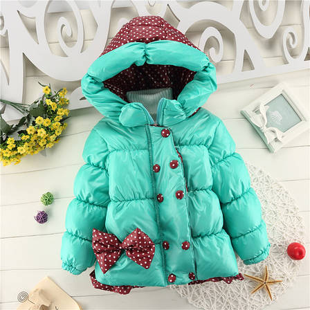 Куртка детская болоневая с капюшоном бирюзовая 205-4, фото 2