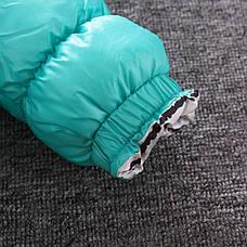 Куртка детская болоневая с капюшоном бирюзовая 205-4, фото 3
