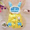Курточка детская теплая с капюшоном и ушками зайчика желтая - 205-7