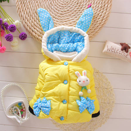 Курточка детская теплая с капюшоном и ушками зайчика желтая - 205-7, фото 2