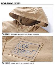 Модная осенняя куртка с капюшоном на мальчика с принтом и нашивками 201-9, фото 3