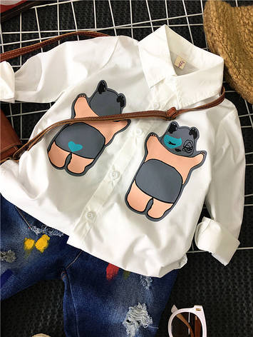 Детская рубашка для мальчика - Спящий мишка Соня 203-2, фото 2