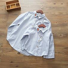 Модная рубашка на девочку с нашивками зайчик и морковка 205-1, фото 3