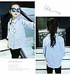 Модная рубашка на девочку с нашивками зайчик и морковка 205-1, фото 4