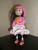 Интерьерная авторская текстильная кукла ручной работы Девочка в розовом