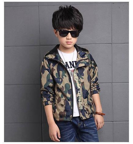 Ветровка на мальчика цвет хаки с капюшоном 201-6, фото 2