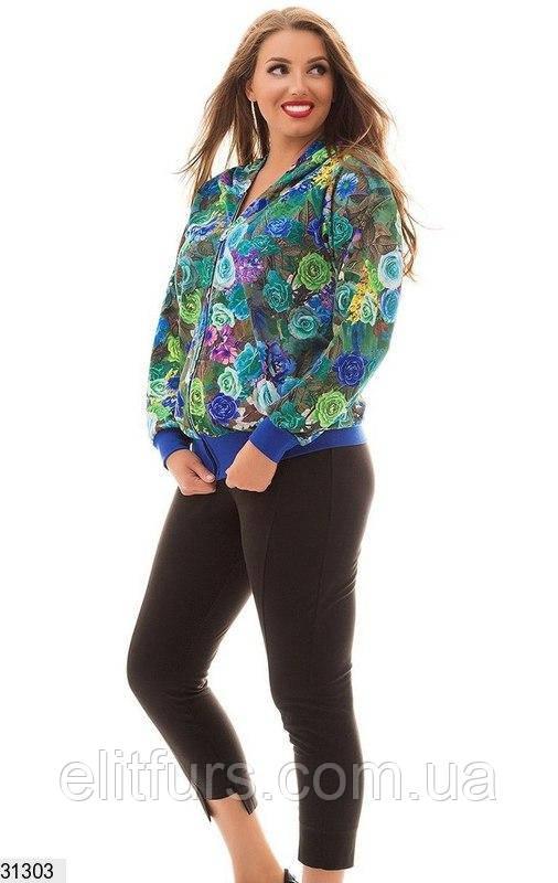 Костюм спортивный женский стильный с цветочным принтом XL