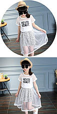 Костюм - белая футболка с надписью и двойная юбка зигзаг с фатином 201-12, фото 3