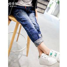 Модные джинсы на мальчика, с заклепками и потертостями 202-5, фото 2