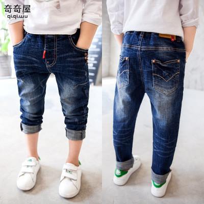 Модные джинсы на мальчика, с заклепками и потертостями 202-5