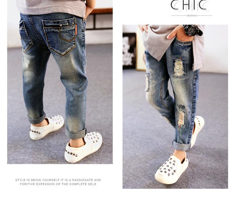 Модные детские джинсы, нашивки и потертости, кляксы краски 202-4