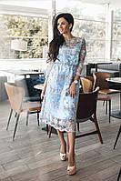 Нарядное платье с вышивкой (бело-голубой)