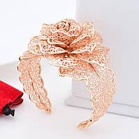 """Браслет """"Ажурная роза"""", код 54829, размер регулируемый, позолота РО"""
