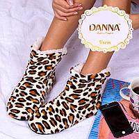 Женские домашние тапочки-угги белые леопард Djan F32-5 35-38