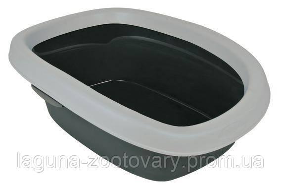 """Туалет глубокий с рамкой для кошек и котят """"Карлуша"""", 31х14х43см, светло-серый/серый"""
