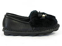 Зимние женские мокасины с мехом черные, фото 1