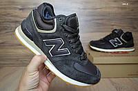 Мужские зимние высокие кроссовки New Balance 574 коричневые кожа замша мех