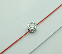 Браслеты из красной нити с цирконом в серебре 1171