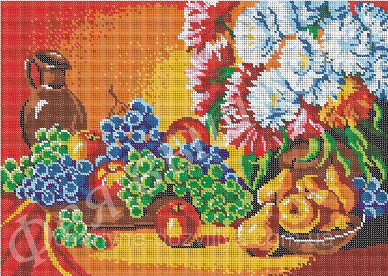 """Схема для вышивки бисером на габардине """"Натюрморт с фруктами"""" (полная зашивка)"""