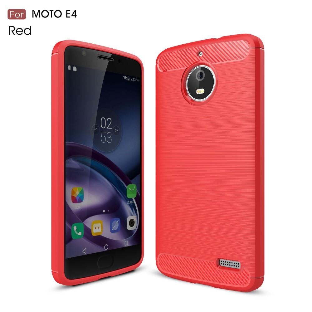 Чехол накладка для Motorola Moto E4 XT1762 силиконовый, Carbon Fibre, красный