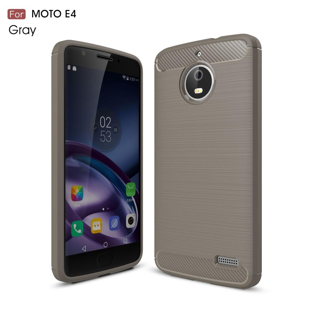 Чехол накладка для Motorola Moto E4 XT1762 силиконовый, Carbon Fibre, серый