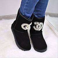 Угги женские Chanel черные 3597, зимняя обувь