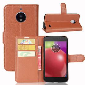 Чехол книжка для Motorola Moto E4 XT1762 боковой с отсеком для визиток, коричневый