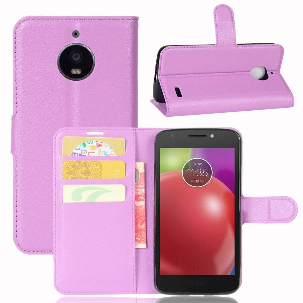 Чехол книжка для Motorola Moto E4 XT1762 боковой с отсеком для визиток, фиолетовый