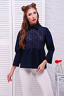 Рубашка с прошвой в стиле кежуал  «Афина» Dark Blue