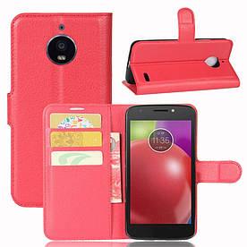 Чехол книжка для Motorola Moto E4 XT1762 боковой с отсеком для визиток, красный