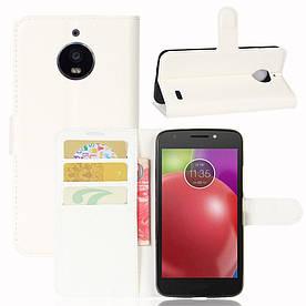 Чехол книжка для Motorola Moto E4 XT1762 боковой с отсеком для визиток, белый