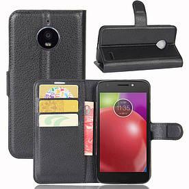 Чехол книжка для Motorola Moto E4 XT1762 боковой с отсеком для визиток, черный
