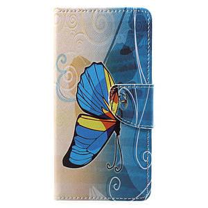 Чехол книжка для Motorola Moto E4 Plus XT1770 боковой с отсеком для визиток, Желто-голубая бабочка