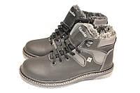 Ботинки подростковые зимние,кожа, М533, черно-серые