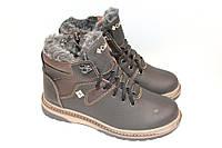 Ботинки подростковые зимние,кожа, М533, черно-коричневые