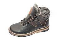 Ботинки подростковые зимние,кожа, М533, черно-коричневый глянец