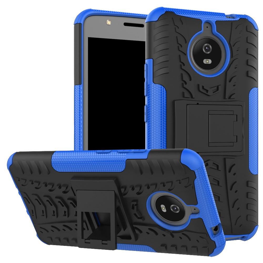 Чехол накладка для Motorola Moto E4 Plus XT1770 противоударный с подставкой, синий