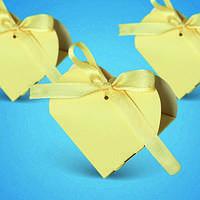 """Бонбоньерки """"Сердце"""" с белым атласным бантиком, оригинальные коробочки для конфет в форме сердца"""